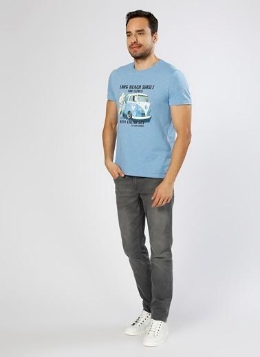 Limon Company Baskılı Bisiklet Yaka Tişört Mavi